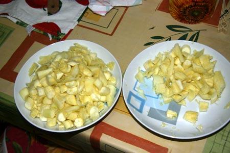 Interno delle zucchine tagliato