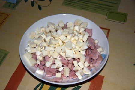 Prosciutto cotto e mozzarella a dadini