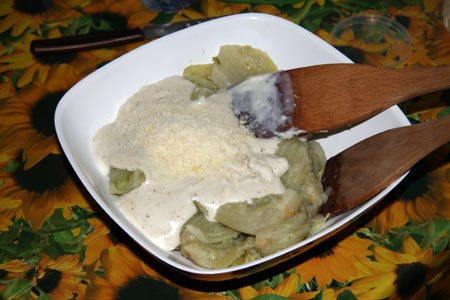 Finocchi, besciamella e parmigiano
